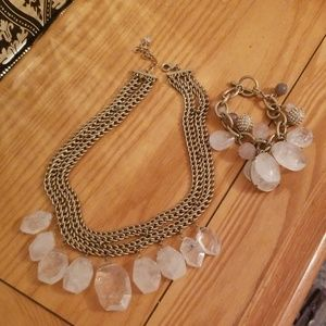 Anthropologie quartz necklace + bracelet